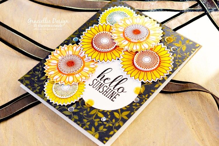 HelloSunshine_GinaKDesignsforThermOWeb_FoiledSunflowerCard_2b