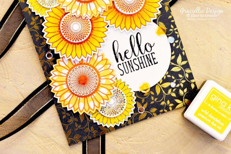 HelloSunshine_GinaKDesignsforThermOWeb_FoiledSunflowerCard_3b